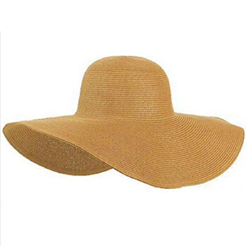 Doinshop Summer Beach Hat Wide Large Brim Floppy Sun Hat Straw Cap (Cheap Hats For Sale)