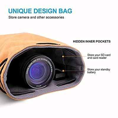 Camera Case, LATZZ Camera Lens Bag, Ultra Soft Faux Suede Vintage Bucket Bag Portable Handbag Gadget Bag Compatible Canon, Nikon, Sony, DSLR, SLR, More