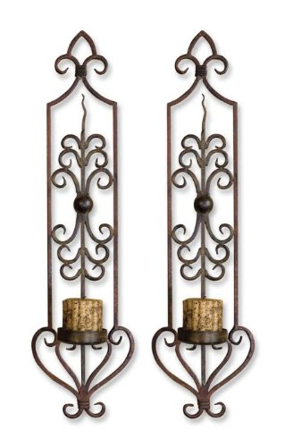 Luxury Large Iron Scrollwork Wall Sconce Set