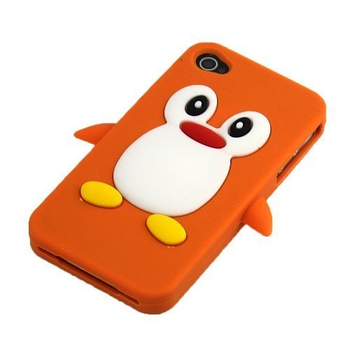 Apple iPhone 4/4S Pinguin Orange Schutz-Hülle Silikon Soft Case Schale Cover 3D thematys®