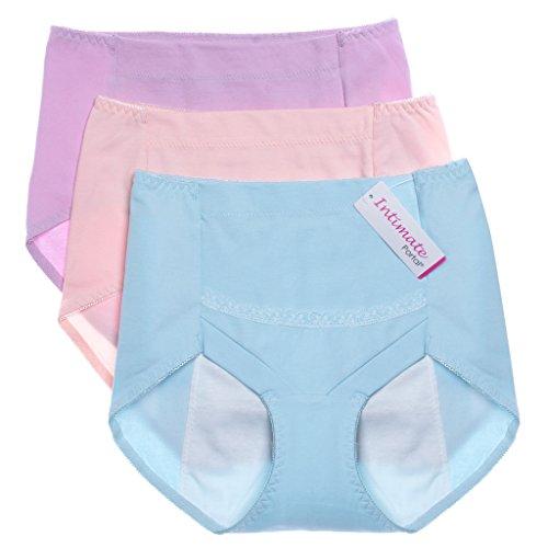 Intimate Portal Women Secret Agent Leak Proof Period Panties Menstrual Underwear 3-Pk Pink Blue Purple S