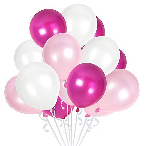 100 Pack Latex Balloons 12 Inches Party Balloons for Wedding Decoration Birthdays Party Decorations Supplies (Pearl White and Magenta and Baby Pink) ()