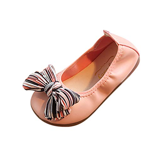- FIged Dancing Shoes Non-Slip Bowknot Leather Infant Girls Casual Mary Jane Pink