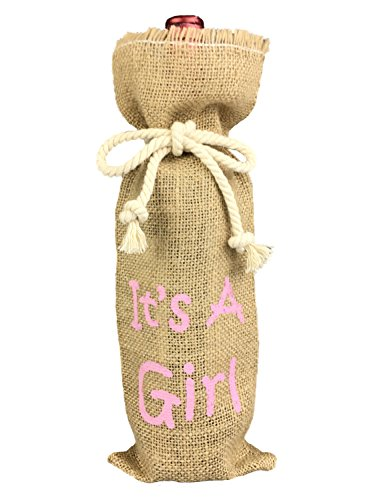 It is a Girl Baby Shower Decorations, Christening Baby Shower Wine Bottle Cover, Girl Baby Shower Favor, Nature Burlap Gift Bag for Girl Baby Shower (Wine Favors)