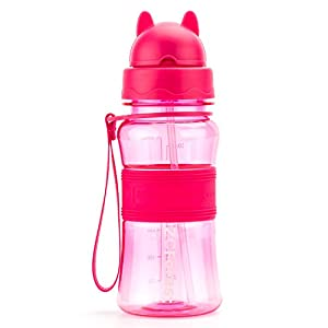 ZCForest BPA-Free Kids Water Bottles 300ML with Suction Tube Kids Straw Water Cup --pink