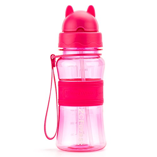 ZCForest BPA-Free Children Water Bottle 300ML with Suction Tube Kids Straw Water Cup BPA-Free Water Bottles for Outdoor and Indoor Activities--pink