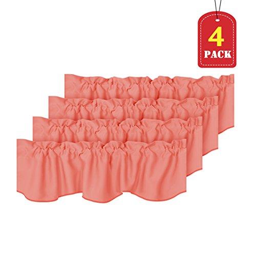 (H.VERSAILTEX Room Darkening Kitchen Valances for Windows Rod Pocket Curtain Valances for Bathroom Coral, Pack 4, 52 inch by 18)