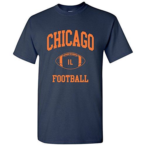 Chicago Classic Football Arch Basic Cotton T-Shirt - 2X-Large - Navy