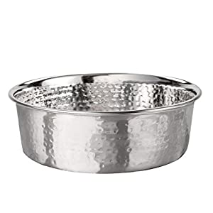 Neater Pet Brands Hammered Stainless Steel Pet Bowl - Decorative Designer Stylish Dog & Cat Dish (Large)