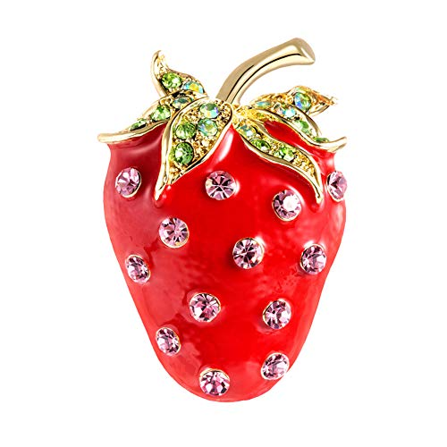 Brooch Pin, gLoaSublim Cute Strawberry Shape Rhinestone Inlaid Brooch Pin Women Backpack Jacket Decor
