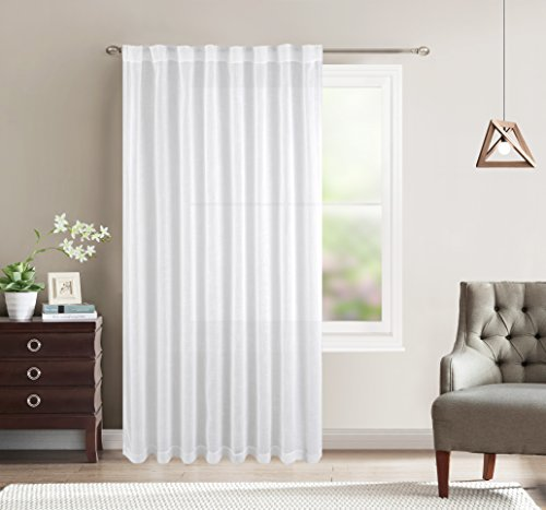BETTER HOME USA BHU White Wide Linen Textured Sheer Curtain Rod Pocket and Back Tab Curtains for Sliding Door, 1 Panel, 80W x 84L Inch Wide Back Panel