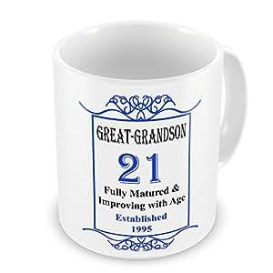 GREAT-GRANDSON 21cumpleaños establecido 1995años–taza azul