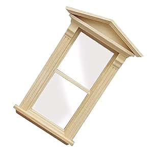 Baosity 1/12 Dollhouse Miniature DIY Making Furniture Wooden Window Model Room ACCS