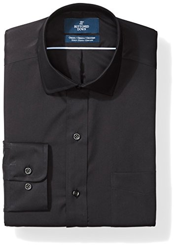 (BUTTONED DOWN Men's Classic Fit Stretch Poplin Non-Iron Dress Shirt, Black, 17.5
