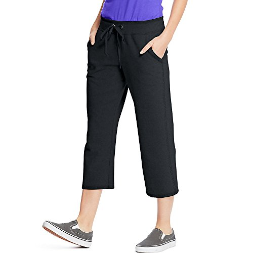 Hanes Womens French Terry Pocket Capri O4679_Black_M (Hanes Black Capris)