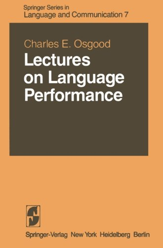Lectures on Language Performance (Springer Series in Language and Communication) by Brand: Springer