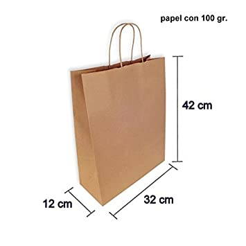 CAJA 250 BOLSAS PAPEL KRAFT 32+12X42 CM (32+12X42 CM, Marrón natural)