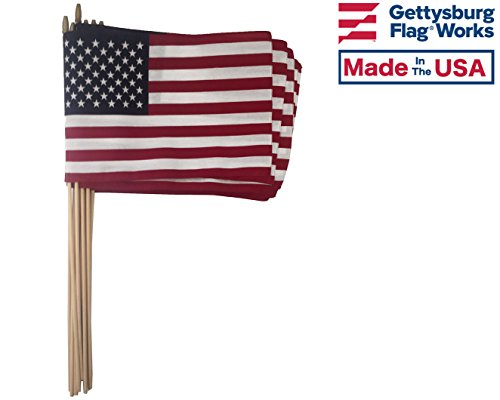 One Dozen (12 Qty) 12x18 US Cotton Stick Flag American Flag on 30
