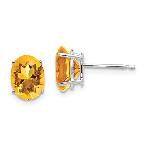 14k White Gold 8x6mm Oval Yellow Citrine Post Stud Ball Button Earrings Gemstone Fine Jewelry For Women Gift ()