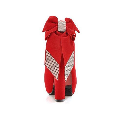 Talons Hauts À Ongles De Autour Ternes Rouges Les Bout Pompes Voguezone009 Fermé Femmes À Solides Enfiler Chaussures À XY8Aq