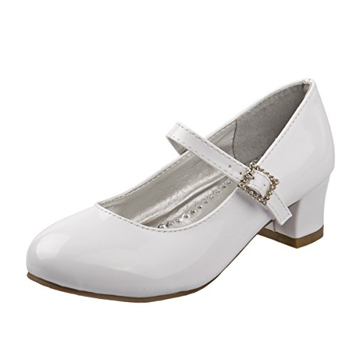 Josmo Girl's Heel Patent Dress Shoes, White Patent, 3 M US Big Kid'