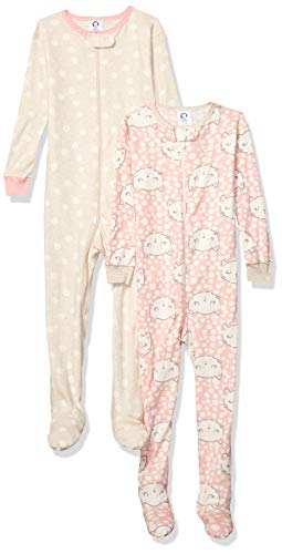 Gerber Baby Girls Organic 2 Pack Cotton Footed Unionsuit, cat Faces 24 Months