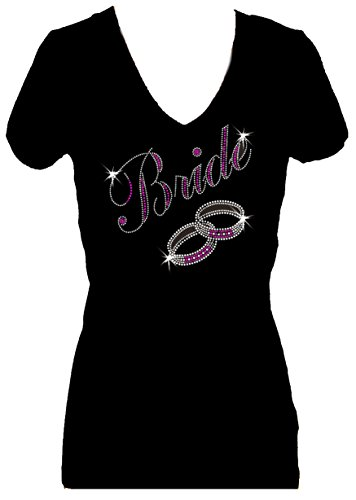 T-shirt Bling Fashion (Bride Rhinestone V Neck Short Sleeve Bling Wedding Womens Tee Shirt (3X))