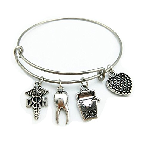 Dh Wire - My Shape Stainless Steel Adjustable Wire Bangle DH Dental Hygienist Caduceus Charm Medical Bracelet Graduation Jewelry Gifts