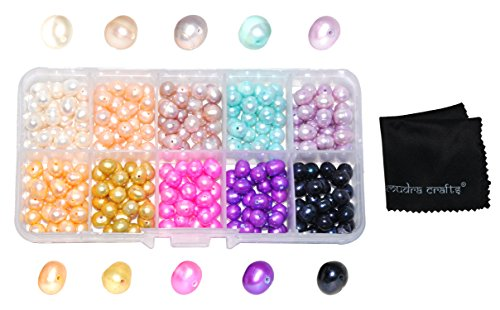 Mudra Crafts Real Freshwater Cultured Pearls for Jewelry Making, Loose Bulk Predrilled Bead Kit (7-8mm, Mixed)
