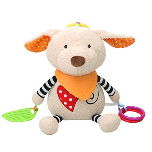 Nivalkid Baby Infant Rattles Plush With Teether Cute Animal Hanging Bell Play Toys Doll Infant and Child Care Doll Baby Plush Toy Tooth Gel Wind Chime Pendant (A) -