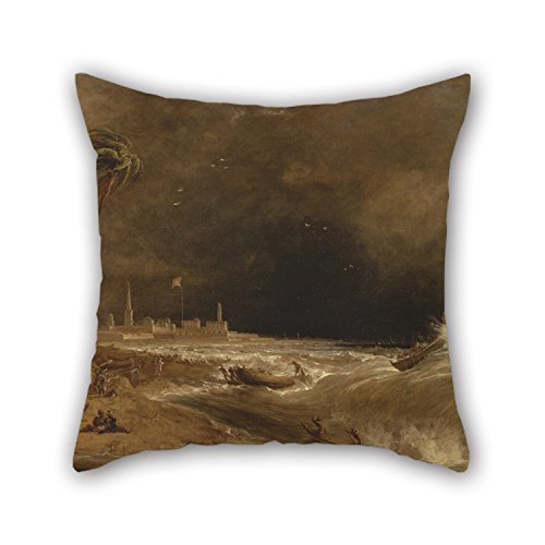 Loveloveu Pillow Covers Of Oil Painting William Daniell - Madras, Or Fort St. George, In The Bay Of Bengal -- A Squall Passing Off 20 X 20 Inches / 50 By 50 Cm,best Fit For Boys,kids,car,teens Boys