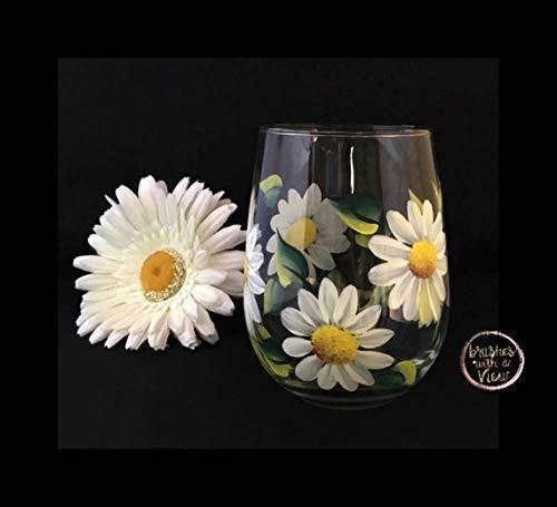 Hand Painted White Daisy Flower Stemless Wine Glass, Gift for her, Daisy Flower Wine Glass 11oz