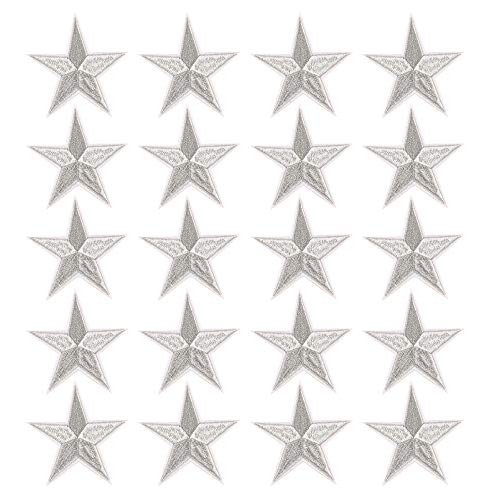 Star Iron On Patches Sew On Embroidered Badge Applique Patch with Star Motif Applique Stickers DIY for Shoes,Hats,Clothes(20 Pcs Silver Star) ()