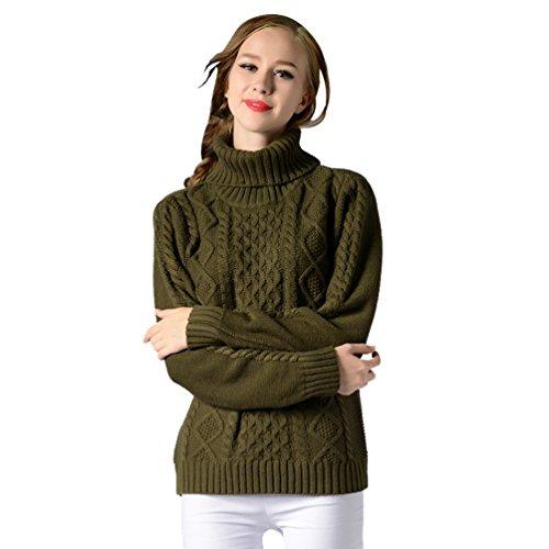 Maniche Zhiyuanan Sweater Lunghe Colletto Solido Verde Moda Alta Slim Invernali Donna Pullover Leisure Maglioni Esercito Colore A1XrqA