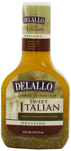 DeLallo Sweet Italian Dressing with Romano Cheese, 16-Ounce Units (Pack of 6)