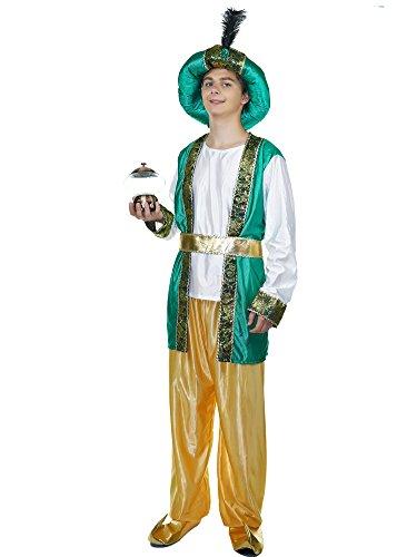 Men's Aladdin Prestige Costume (One Size, Green/Yellow) (Aladdin Mens Costume)