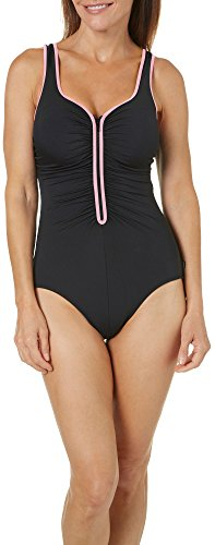 Reebok Women's Electric Express U-Neck One Piece Swimsuit, Black/Pink, 12 -