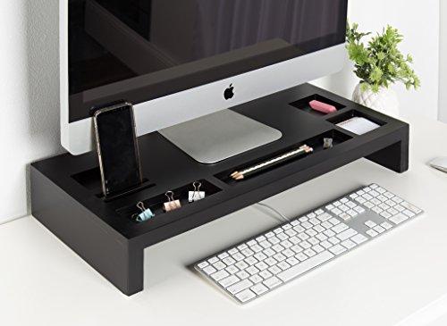Kate and Laurel Briggs Wood Monitor Riser Desk Organizer, Black by Kate and Laurel