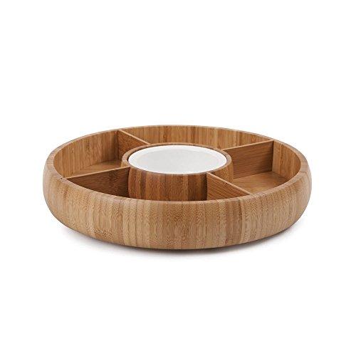 Home Basics Bamboo & Ceramic Crudite Veggie Chip & Dip Bowl (Crudite Set)