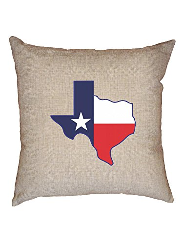 Hollywood Thread Texas State Map with Flag Overlay Graphic Home Pride Decorative Linen Throw Cushion Pillow Case with Insert