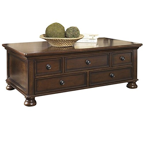 Ashley Furniture Signature Design - Porter Coffee Table - Cocktail Height - Rectangular - Rustic Brown (Mission Rectangular Table Coffee)