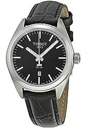 Tissot PR100 Black Dial Black Leather Ladies Watch T1012101605100