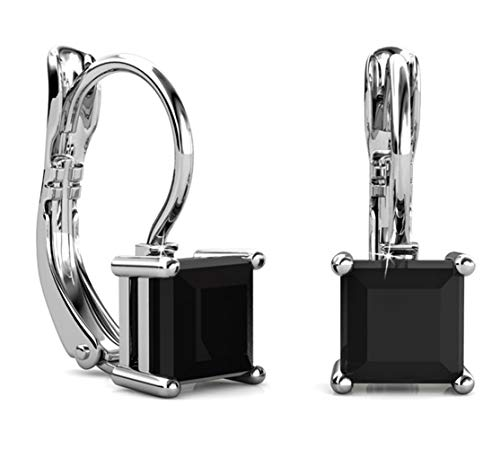 Jade Marie BLISSFUL Black Crystal Silver Earrings, 18k White Gold Plated Dangle Earring Set with Black Onyx Princess Cut Solitaire Swarovski Crystals