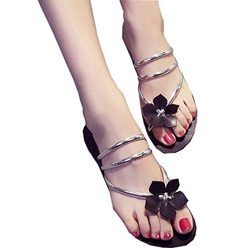 Chaussures plates Argent Sandales Shineflow Flower Tongs Bohoia d'été tzw8Rz