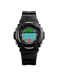 Kids Sport Digital Watch Outdoor Waterproof Stopwatch LED Alarm Electronic Wrist Watches for Boys Girls (Black)
