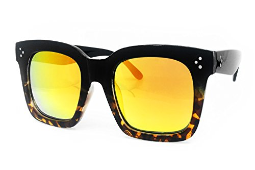 O2 Eyewear 1762 Premium Oversize XXL Women Men Mirror Revo Havana Tilda Shadow Style Fashion Sunglasses (BLACK BROWN/ORANGE, 56) (Eyewear Lightweight)