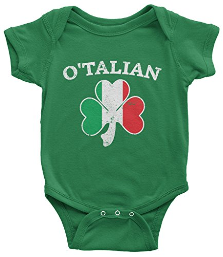 [Threadrock Baby O'Talian Italian Irish Shamrock Infant Bodysuit 6 Months Kelly Green] (St Patricks Day Shirts For Toddlers)