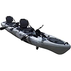 Brooklyn Kayak Company BKC UH-PK14 14 foot Sit On Top Tandem Fishing Pedal Drive Kayak Upright Seats included (Grey Camo)