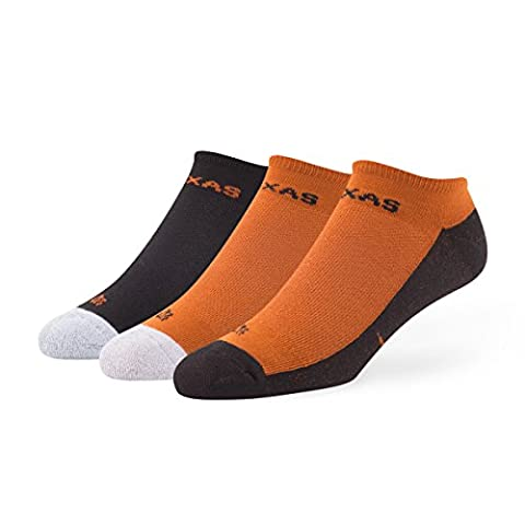 NCAA Texas Longhorns Women's '47 Gait Sport No-Show Socks, Large, 3-Pack (University Of Texas Boots)