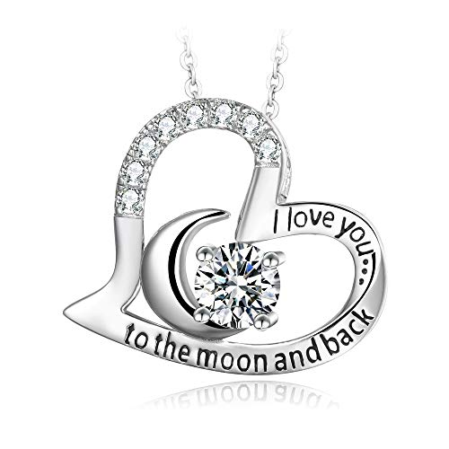 White Girls Love To Party (T400 925 Sterling Silver Necklace I Love You to The Moon and Back White Cubic Zirconia Moon Heart Pendant Birthday Gift for Women)